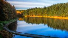Autumnal stroll... (inExplore) (Lee~Harris) Tags: water lake calm reflections tree sky path autumn november reservoir outdoor landscape colourful wood forest serene