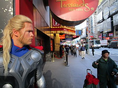 Wax Thor on 42nd St sidewalk 2017 NYC 3497 (Brechtbug) Tags: wax thor 42nd st sidewalk 2017 nyc marvel comics waxworks display outside madame tussauds forty second street midtown manhattan museum 11082017 new york city viking norse god lightning hammer mjölnir mjolnir november royal uk england brit britain british tussaud s mannequin mannequins dummies dummy chris hemsworth