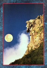 Old Man of the Mountain, Franconia, N.H.  The Great Stone Face is the state symbol. Postcard photo by Roland J. Bergeron (lhboudreau) Tags: postcard oldmanofthemountain theoldmanofthemountain greatstoneface franconianotch newhampshire franconianewhampshire cannonmountain rock cliff formation rockformation face profile rocks rockcliffs whitemountains mountain mountains outdoor outdoors collapse collapsed postcards oldman theoldman stateemblem statesymbol symbol oldmanofmountain granite ledges jaggedprofile mountainside trademark thegreatstoneface moon fullmoon rolandjbergeron bergeron photopostcard sky