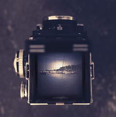 (donna leitch) Tags: rolleiflex viewfinder marina sailboats vintage donnaleitch