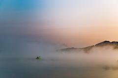 Paddling Through The Fog (matthewkaz) Tags: kayak kayaker kayaking sunrise fog lake limelake water sky boat reflection reflections cedar maplecity leelanau michigan puremichigan summer 2017