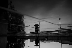 London (maekke) Tags: england greatbritain morning reflection puddlegram umbrella pointofview pov urban thames fujifilm x100t 35mm streetphotography bw noiretblanc lond london silhouette
