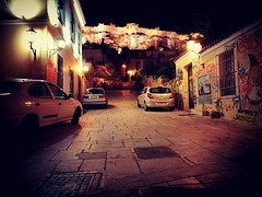 Route For Lovers (Tassos Giannouris) Tags: road view acropolis romantic athens greece night lights roadlights cars grafity walls old architecture parthenon ancient