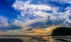 Bethels Beach sunset (scott.eyre) Tags: sunset colour beach auckland new zealand north island clouds water ocean stream sand colourful waitakere ranges wide angle 10mm