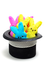 Easter Bunny Rabbit Peeps popping out of a hat (ShebleyCL) Tags: easter spring candy holidays rabbit peeps bunnies confection yellow blue marshmallow