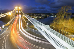 Menai Bridge (Ffotograffiaeth Dylan Arnold Photography) Tags: bridge menaibridge suspensionbridge thomastelford anglesey night lighttrails starburst streetlights traffic bluehour landscape northwales wales canoneos6d canon1635mmf4l vanguardaltapro tripod longexposure wideangle clouds sky menaistraits coast coastline water urban iconic leadin trails lights outdoors