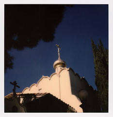 Russian Orthodox Church 2 (tobysx70) Tags: polaroid originals color 600 instant film slr680 frankenroid sx70 door rollers protection of the holy virgin russian orthodox church argyle avenue hollywood los angeles la california ca suppedaneum cross gold onion dome cyprus tree blue sky toby hancock photography