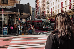 Stop and stare. (knnku) Tags: red street photography abstract random people moving san francisco sf cali california kenniku bus corner urban life explore travel adventure walk run