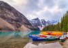 Canoes at Moraine Lake, Banff, Alberta (AmbientLens) Tags: clouds cloudscape lake nature outdoors reflection sunrise trees water adventure alberta banff canada canadianrockies cloudy glaciallake glacier jasper morainelake mountain natural rocks rockymountains snow snowcappedmountains torquoise