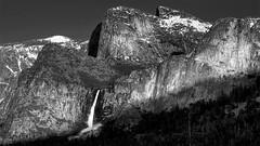 Cathedral Rock Bridalveil Falls BW2 (danngrider) Tags: yosemite yosemitenationalpark mercedriver halfdome elcapitan bridalveilfalls yosemitefalls yosemitevalley