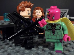 You Can't Beat Me Clint (MrKjito) Tags: lego super hero minifig marvel studioes cinematic universe captain america civil war hakweye vision scarlett witch wanda clint scene avengers facitliy