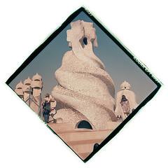 Casa Mila Chimneys II (LevaniaK) Tags: 1989 2017 agfa april barcelona bulgarian casa chimneys diamond ektachrome expired gaudi isolette kodak mila art