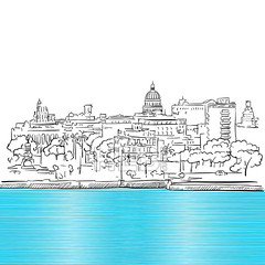 Havana Cuba Panorama with colored Sea Sketch (Hebstreits) Tags: architecture art background banner blue building card city cityscape concept cuba cuban design drawing drawn graphic greeting hand havana illustration ink isolated landscape line ocean old panorama retro sea sketch skyline symbol tourism travel vector view vintage water white
