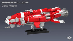 Barracuda Class Frigate (CK-MCMLXXXI) Tags: lego moc spaceship frigate digital ldd render povray assault