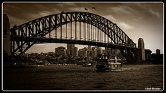 Sydney Harbor Bridge (PEN-F_Fan) Tags: monotone monochrome olympusmzuiko12100mmf40pro on1photoraw olympuspenf mft dxophotolab microfourthirds dxofilmpack mirrorless sydneyharborbridge sky type wideangle water raw photoborder pencamera postprocessing processingsoftware preset bridge blackwhite camera clouds cappuccino sydney newsouthwales australia aus architecture