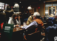Good Night in Cafe (Photo Alan) Tags: leicasummiluxm35mmf14 sonya7rii vancouver canada cafe indoor people street streetphotography streetpeople night vancouvernight city