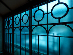 Ice Blue (Steve Taylor (Photography)) Tags: window blue black glass uk gb england greatbritain unitedkingdom london silhouette pattern londontransportmuseum