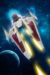 White Arrow Starfighter... IN SPACE!! (Johann Dakitsch) Tags: science fiction scifi starfighter spaceship ship space fighter future toy custom moc lego system vic viper novvember sky montage photoshop