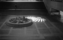 Traffic Centre Rotunda (jvde) Tags: 3570mmf3345nikkor blackandwhite burnaby coolscan film fujicolor gimp nikonfe sfu