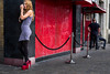 form an orderly queue (Silver Machine) Tags: london streetphotography street candid girl standing highheels shoes club ropebarrier outdoor 3rdannualstreethuntersmeeting streethunters fujifilm fujifilmxt10 fujinonxf35mmf2rwr