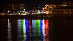 harbour lights (HHH Honey) Tags: 117picturesin2017 minimoonxvii devon sonya7rii paignton night nightshot lights longexposure sea seaside harbour 65burnthemidnightoil 65 minolta minolta100200mm reflections