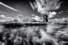 Redundant.......... (David Feuerhelm) Tags: blackandwhite bw noiretblanc schwarzundweiss contrast movement longexposure slowshutterspeed wideange infrared building tower windpump old ruin silverefex nikon d90 sigma1020mm norfolk england eastanglia