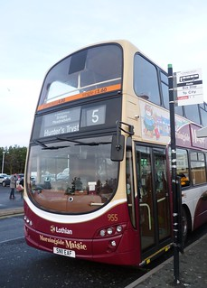 Lothian 955 at The Jewel terminus at Asda store in Edinburgh's eastern suburbs.