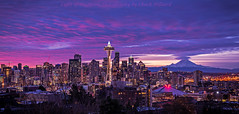 seattle dawn 11-25-17-ps logo (Light of the Moon Photography) Tags: sunrise seattle dawn space needle pink skies mount rainier lenticular emerald city