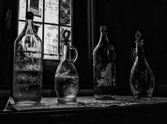 Water (Georgie Pauwels) Tags: water bottle window blackandwhite bnw olympus light stilllife carafes glass