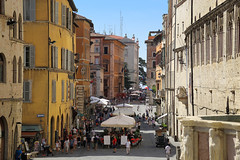 Corso Vannucci is the main street of Perugia (B℮n) Tags: palazzodonini rocca paolina palazzodellaprefettura perugia italia italy umbria italië gallery gallerie hilltop town baroquefacade roman ruins history wander hiking walking street walk girl woman building cathedrale duomo travel holiday vacation etruscan medieval umbrië monuments walls museum church centre baroque artwork culture steps panorama viewpoint hill fountain oase piazzaitalia oasis tuscan style salvatore fiume palace donini shopping corsovannucci pietro benetton united colors 50faves topf50 100faves topf100