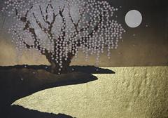 桜 - sakura (清水みのり - Artist) Tags: minori shimizu sakura fiori di ciliegio luna moon 清水みのり 折り紙 京おりがみ 桜 日本画 絵画 満月