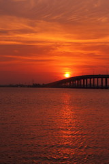FIRE IN THE SKY (R. D. SMITH) Tags: sunrise river bridge florida canoneos7d indianriver sun sky brevardcountyflorida melbourneflorida