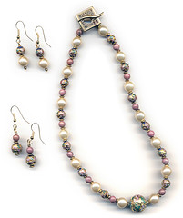 A necklace and earrings featuring the rose pink semi-precious stone Rhodonite along with glass pearls and gold cloisonné (elizabatz.jensen) Tags: jewelry necklace earrings rosepink semiprecious stone rhodonite glass pearls gold cloisonné