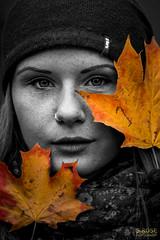 grey autumn (S.Rose Fotografie) Tags: grey black white orange autumn herbst portrait model woman girl shoot canon laub blatt bunt nice dark gesicht face eyes art dresden germany deutschland sachsen