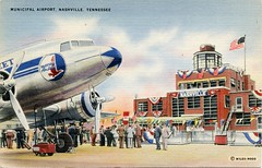 Municipal Airport, Nashville, Tennessee (SwellMap) Tags: postcard vintage retro pc 30s 40s 50s 60s thirties forties sixties fifties roadside midcentury atomicage nostalgia americana advertising coldwar artdeco linen design style architecture building