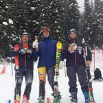 2017 Sun Peaks Coaches Cup Men's SL Podium - Devin Mittertreiner (1st place wins sausage), Max Kirshenblatt (2nd place wins chocolate), Myles Kowalczyk (3rd place wins cheese)