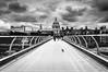 Millennium Bridge (Sebastian Sighell) Tags: blackwhite blackandwhite monochrome london bridge cityscape clouds sky skyporn perspective sony