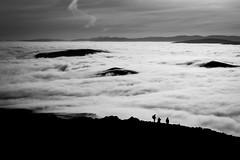 Islands in a sea of cloud (Alan Hughes Mach) Tags: scotland assynt canisp highlands walk walking hike hiking weather cloud clouds cloudinversion inversion mountain sea landscape landschaft paysage ciel cielo monochrome mono bnw temperatureinversion mist fog blackandwhite bw noiretblanc blackwhite dof contrast island shadow view scenery hill hills mountains light sunlight white winter february natural naturaleza himmel sky sunshine sunny bright grey outside paisaje panorama outdoor canon friends blancoynegro absoluteblackandwhite