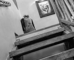 Upstairs (clarkcg photography) Tags: drip coffee formula jersey baseballt painting bear stairs wood bw blackandwhite thursdayblackwhite 7dwf tahlequah oklahoma blackwhite