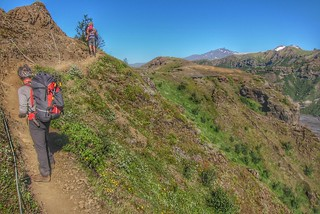 Iceland ~ Landmannalaugar Route ~  Ultramarathon is held on the route each July ~ Hiking from Camp