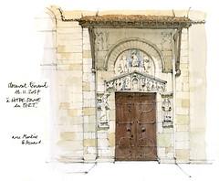 Clermont-Ferrand (gerard michel) Tags: france architecture auvergne clermontferrand église portail sketch croquis aquarelle watercolour
