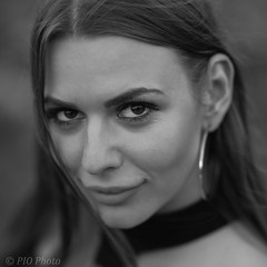 Smile (piotr_szymanek) Tags: kornelia portrait outdoor blackandwhite smile eyes woman face eyesoncamera young 5k 50f 10k 1k 20f