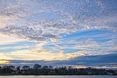 Barrington Sky (brev99) Tags: d610 tamron28300xrdiif skyscape landscape cloudscape sunset sunsetlight barrington rhodeisland trees houses clouds ononesoftware on1photoraw2017 topazdetail