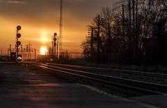 Passing on the South (Kevin Tataryn) Tags: train rail railroad railway canada locomotive tracks signals sunset evening coteau cn canadiannational viarail cnr sundaylights