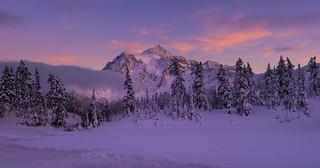 Winter Wonderland ( Mt Shuksan at frozen lake, Mt Baker Ski Area, WA)