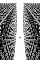 Archiparis (Jeremy B williams) Tags: architecture paris plane avion defense sky ciel noiretblanc towers tower france ladefense blackandwhite jeremybwilliams studioartpicture artpicture