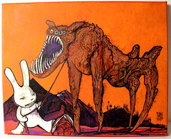 beast und rabbit 2 (mc1984) Tags: mc1984 rabbit beast orange posca night 2017 ink poil
