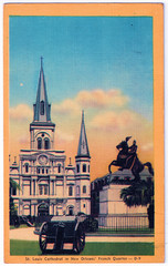 New Orleans - St. Louis Cathedral Prior to 1948 (pepandtim) Tags: postcard old early nostalgia nostalgic new orleans st louis cathedral 1948 bagur southern souvenir manufacturing co venerable french quarter jackson square don andres 1794 colorcraft dexter press pearl river york 25031948 45slc46 miss mann ingleside ave avenue chicago marjorie marshall fields kay field department store illinois slogans chain macys 2005 flagship state street loop 2006