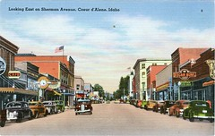 Coeur d'Alene, Idaho (SwellMap) Tags: postcard vintage retro pc 30s 40s 50s 60s thirties forties sixties fifties roadside midcentury atomicage nostalgia americana advertising street car linen design style architecture building