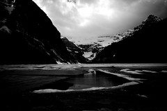 Lake Louise in Spring (lesliegill) Tags: 2014 banff blackandwhite canada dp1merril foveon ice june lakelouise mountains nopeople rockymountains scenery sigma snow